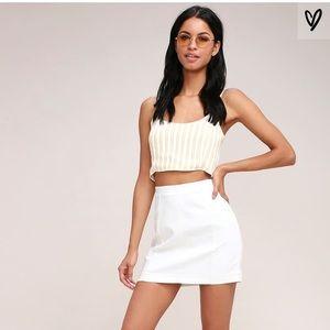 Free People Modern Femme White Denim Mini Skirt